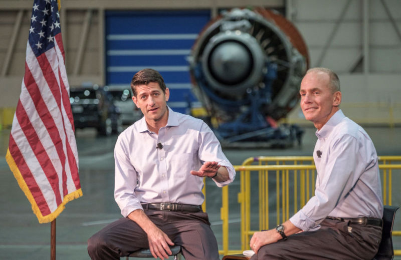 House Speaker Paul Ryan speaks during a town hall with Boeing Company CEO Dennis Muilenburg and Boeing employees in Everett, Washington this year.