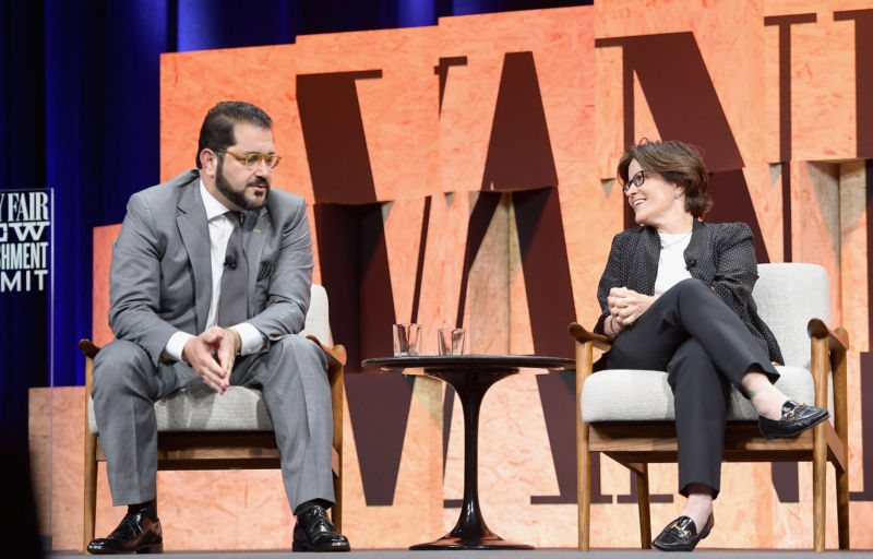 Co-founder and managing director of Sherpa Capital Shervin Pishevar and executive editor of Recode Kara Swisher speak onstage during Vanity Fair New Establishment Summit at Wallis Annenberg Center for the Performing Arts on October 3, 2017 in Beverly Hills, California.
