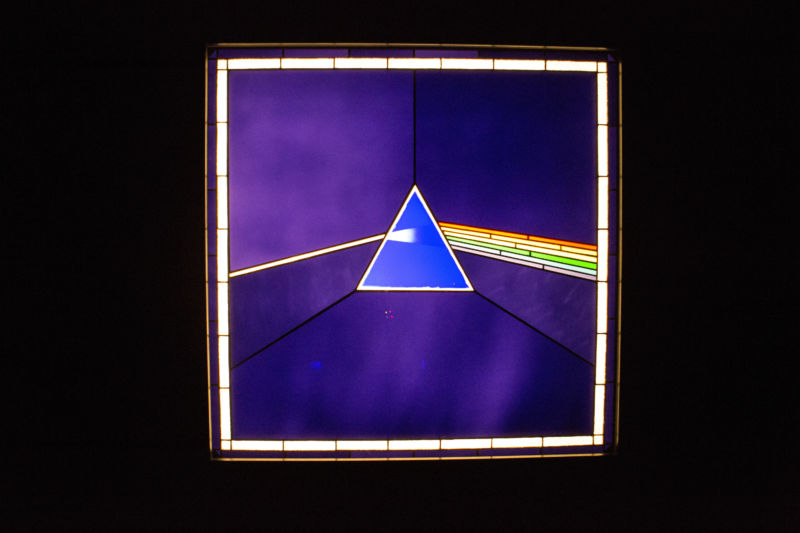 Artwork issued from the album cover <em>The Dark Side of the Moon</em> released in 1973 as seen during the 2017 Pink Floyd exhibition in London.