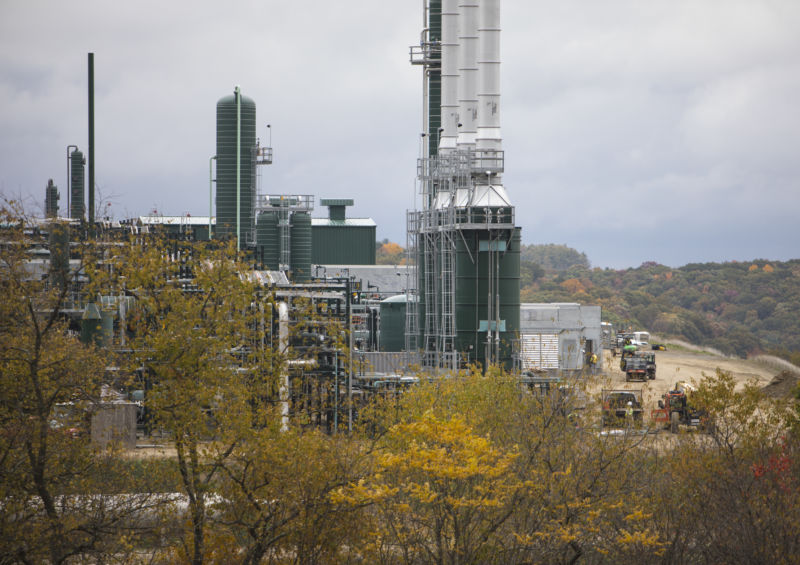 SMITH TOWNSHIP, PENNSYLVANIA - OCTOBER 25: A view from private farmland shows a natural gas cryogenic processing plant under construction October 25, 2017 in Smith Township, Washington County, Pennsylvania. The cryogenic plant is owned by Energy Transfer Partners, ETP, one of the nation's largest natural gas and propane companies. (Photo by Robert Nickelsberg/Getty Images)