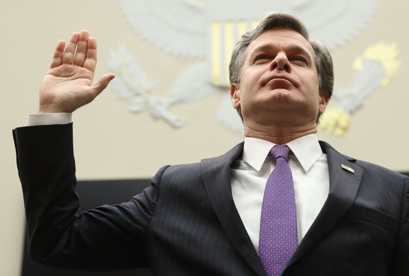 FBI Director Christopher Wray is sworn in prior to testifying before the House Judiciary Committee December 7, 2017 in Washington, DC.