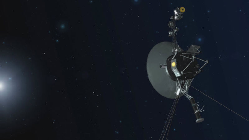 The Voyager team is able to use a set of four backup thrusters, dormant since 1980. They are located on the back side of the spacecraft in this orientation.