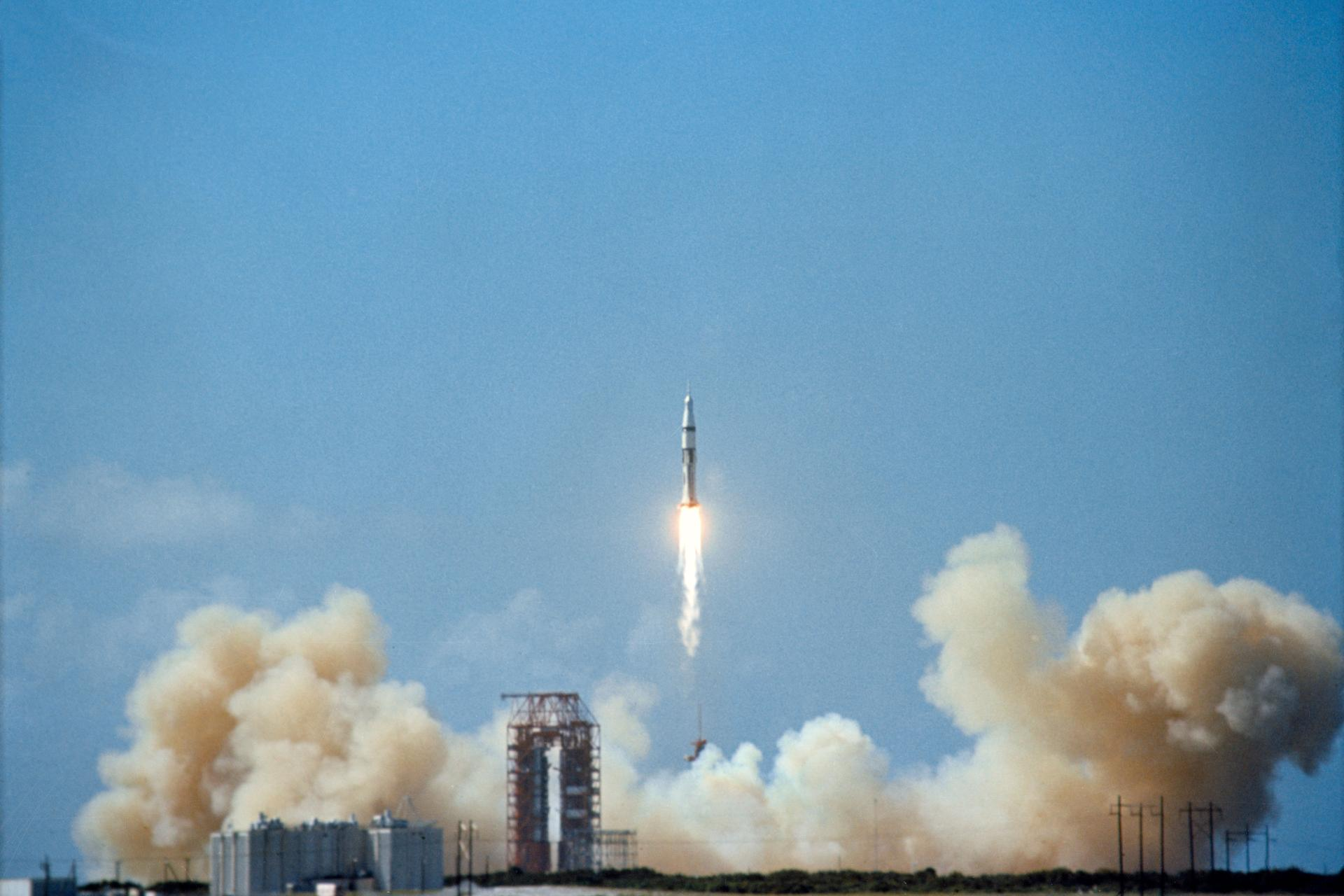 The successful launch of Apollo 7 in October, 1968, to test the command module, paved the way for a dash to the Moon.
