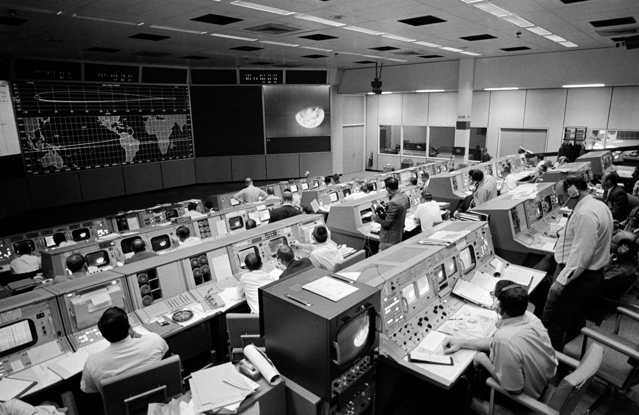 Overall view of the Mission Operations Control Room in the Mission Control Center, Building 30, on the third day of the Apollo 8 lunar orbit mission.