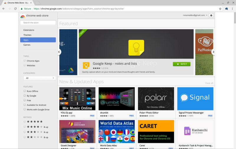 "The ""App"" section of the Chrome Web Store."