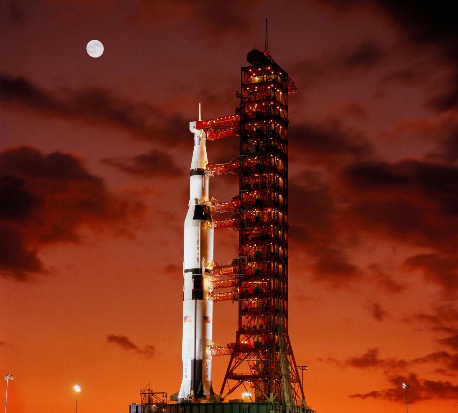 Early morning view of Pad A, Launch Complex 39, Kennedy Space Center, showing Apollo 4 before its launch.