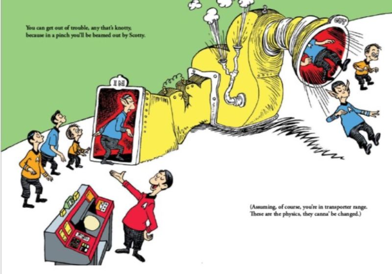This is a page from <em>Oh, the Places You'll Boldly Go!</em>, which Dr. Seuss Enterprises claims infringes its copyright.