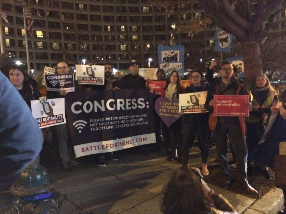Net neutrality supporters protesting the repeal in Washington, DC on December 8, 2017.