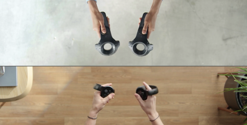 Oculus Touch controllers (bottom) and HTC Vive wands (top) join in harmony... at least in Facebook Spaces. Is this an indication of VR harmony to come?