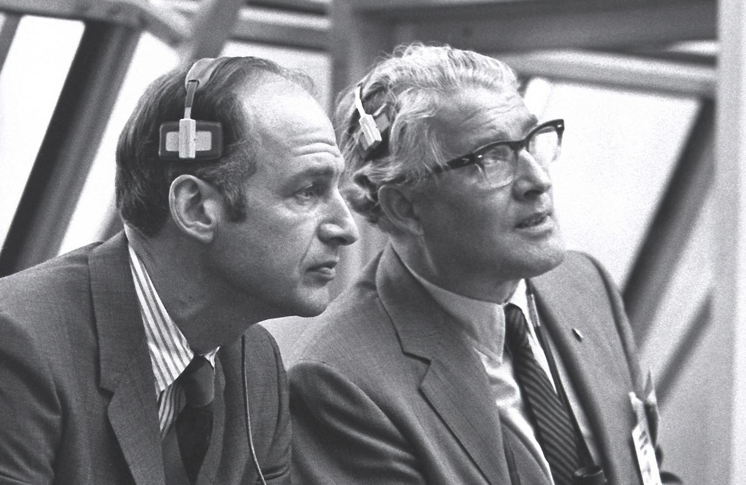 The Apollo capsule program manager, George M. Low, left, and rocket designer Wernher von Braun.