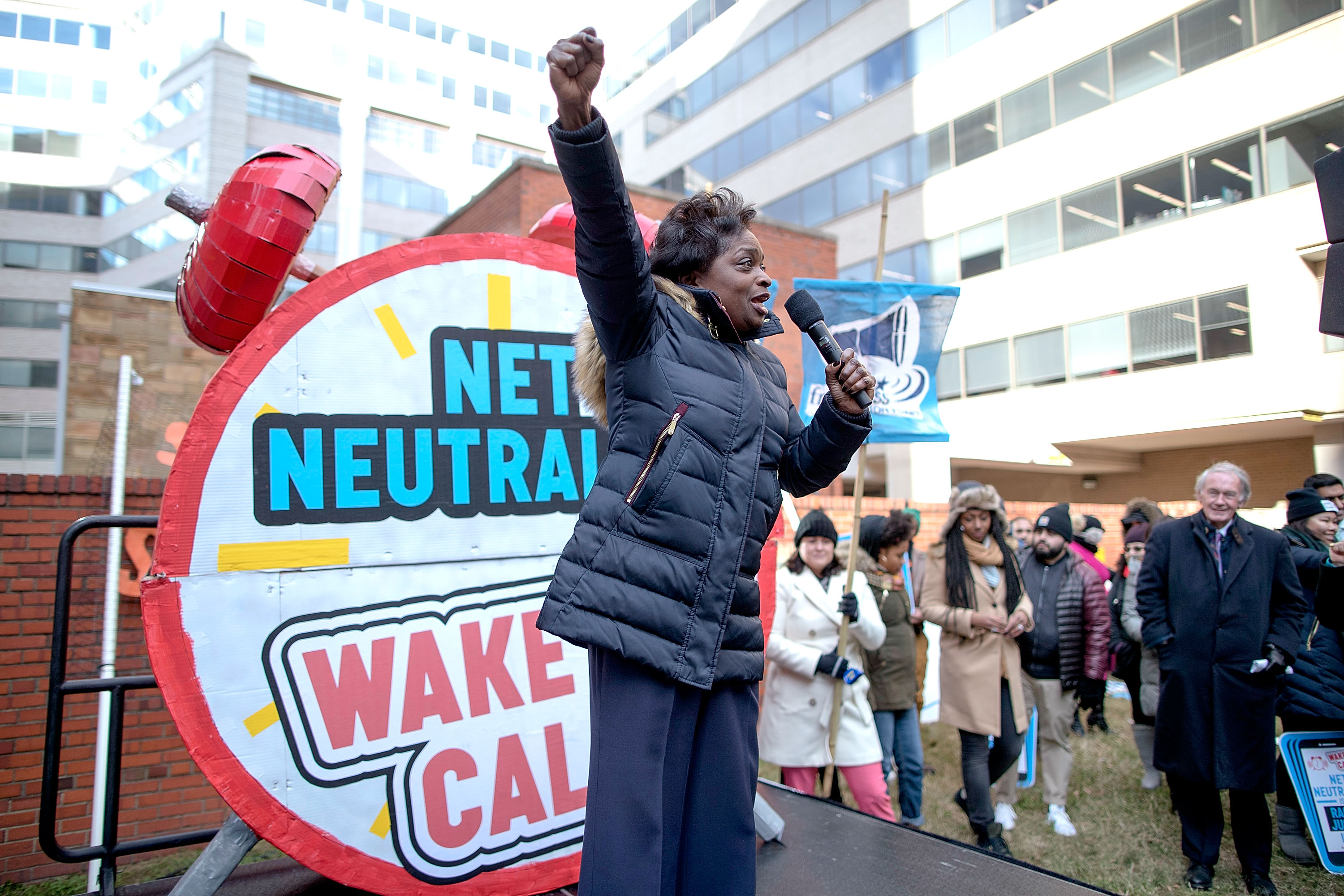 FCC Commissioner Mignon Clyburn addresses protesters outside the Federal Communication Commission building to rally against the end of net neutrality rules on December 14, 2017 in Washington, DC.