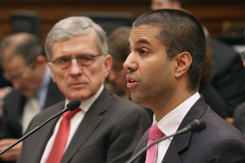 Then-FCC Chairman Tom Wheeler with current FCC Chairman Ajit Pai testify before the House Judiciary Committee about Internet regulation on March 25, 2015 in Washington, DC.