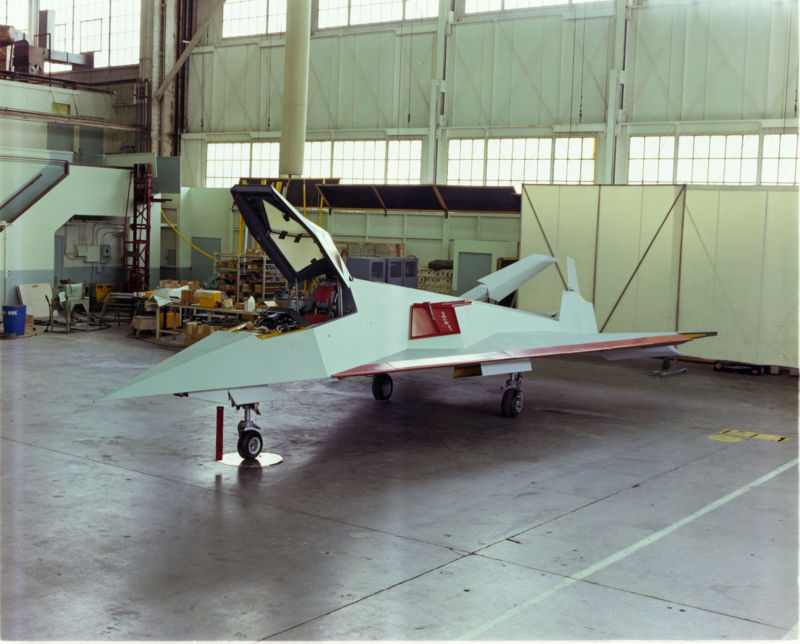 "One of the two Have Blue prototypes sits in a hangar at Lockheed's Skunk Works in Burbank, California in this 1978 photo. The aircraft was the first real ""stealth"" aircraft, designed to have a radar cross section the size of ""an eagle's eyeball""."