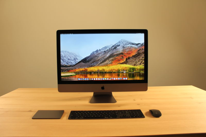 Image of the iMac Pro from the front with a rich image on the monitor.