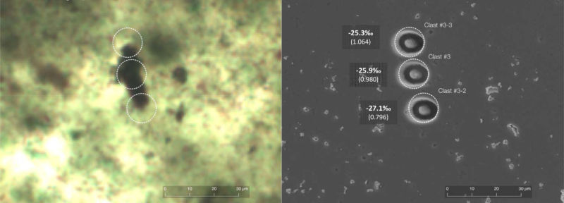 Optical microscope image of one of the purported microfossils on the left, and a Scanning Electron Microscope image of the same spot after carbon isotopes were measured in three pits on the right.