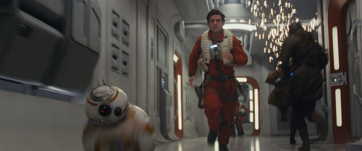 """Let's go, BB-8! We have to propel another action sequence along by way of questionable logic!"" ""[concerned beeping noises]"" ""I know, I know."""