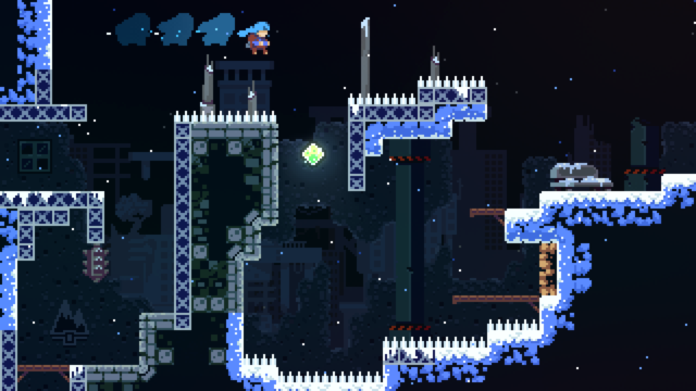 A great example of a tricky <em>Celeste</em> room, which forces players to figure out, and then execute, a perfect series of jumps and air-dashes.