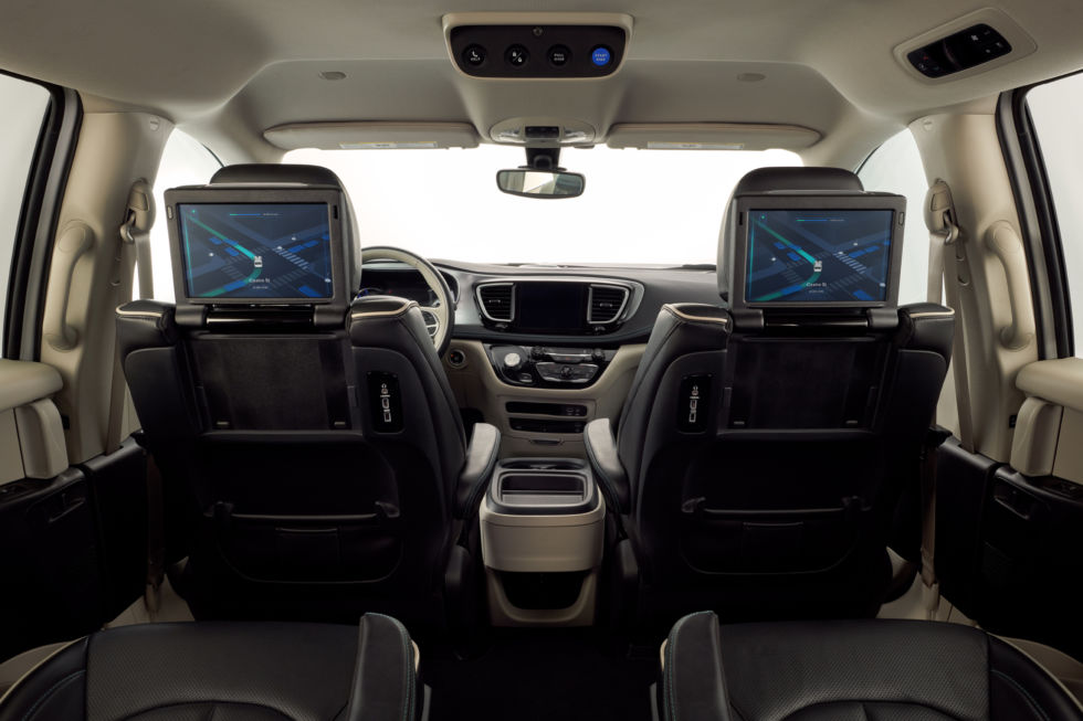 The interior of one of the self-driving Pacifica Hybrids.