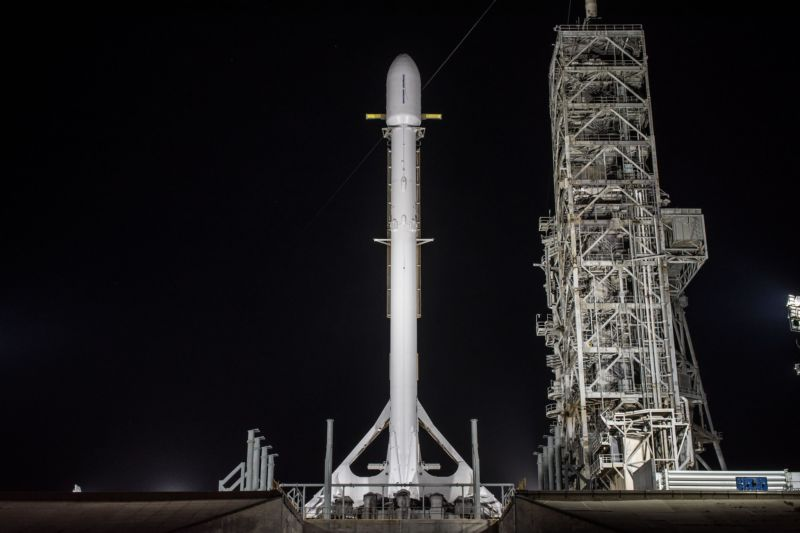 The Falcon 9 rocket and its Zuma payload are seen on the launch pad in November.