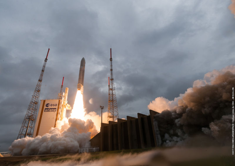 An Ariane 5 rocket launches in December, 2017.