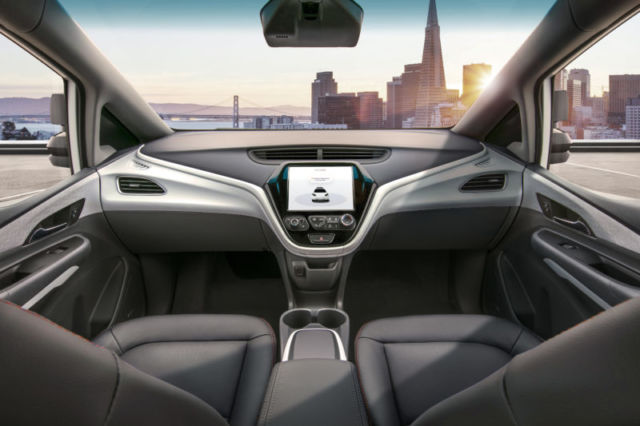 GM plans to release this modified Chevy Bolt with no steering wheel in 2019 for use in the Cruise driverless taxi service.