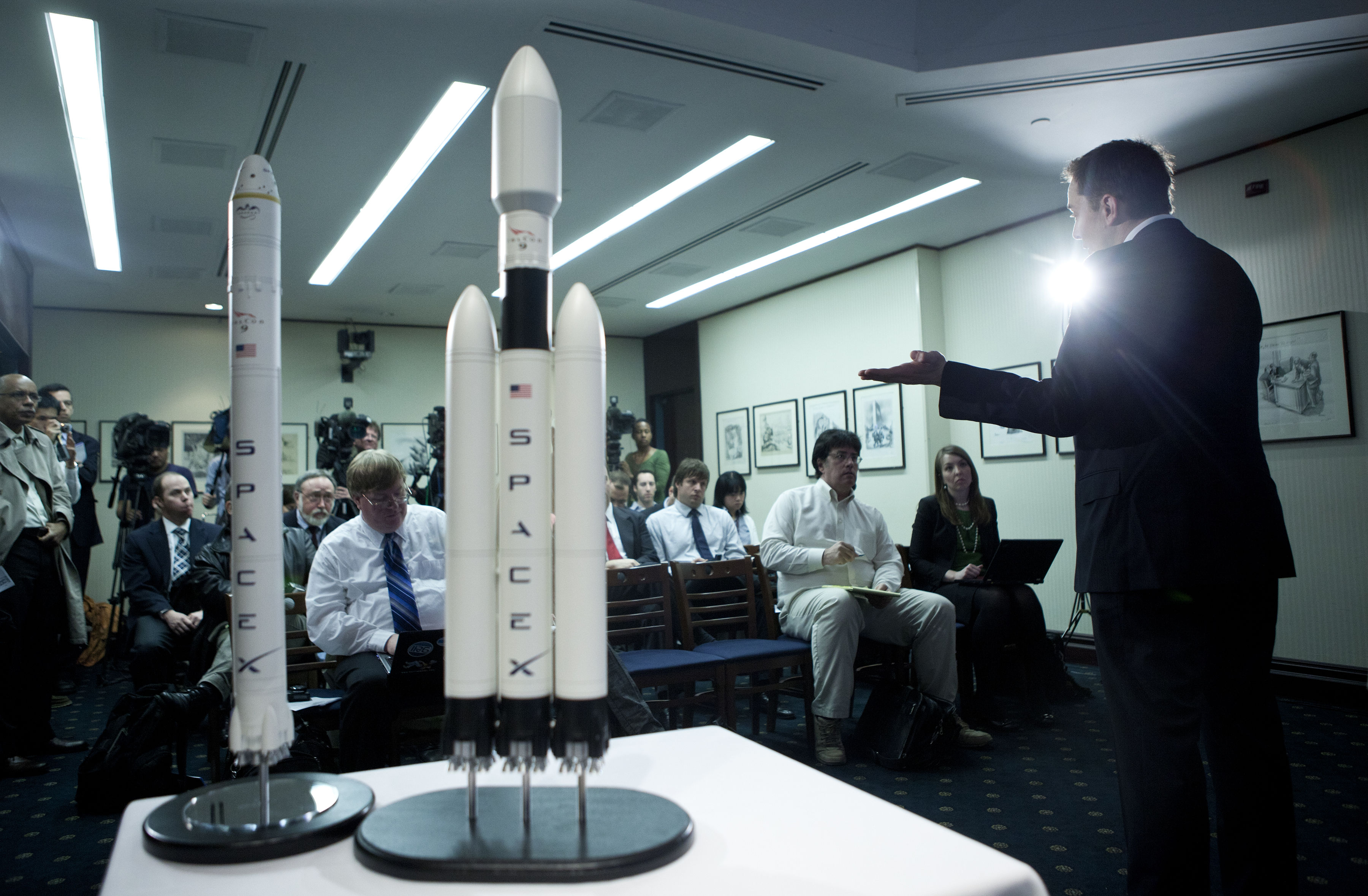 Only a few reporters turned up for Musk's Falcon Heavy announcement in 2011.