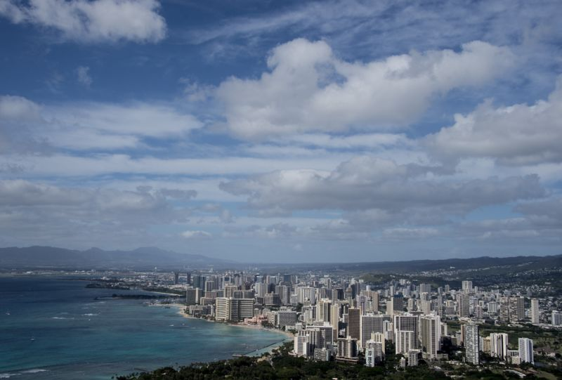 A view of the skyline of the Waikiki neighborhood of Honolulu on December 31, 2014. NICHOLAS KAMM/AFP/Getty Images
