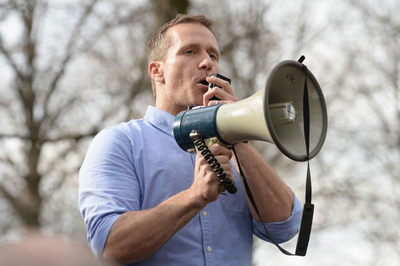 Missouri Governor Eric Greitens addresses a crowd at Chesed Shel Emeth Cemetery on February 22, 2017 in University City, Missouri.