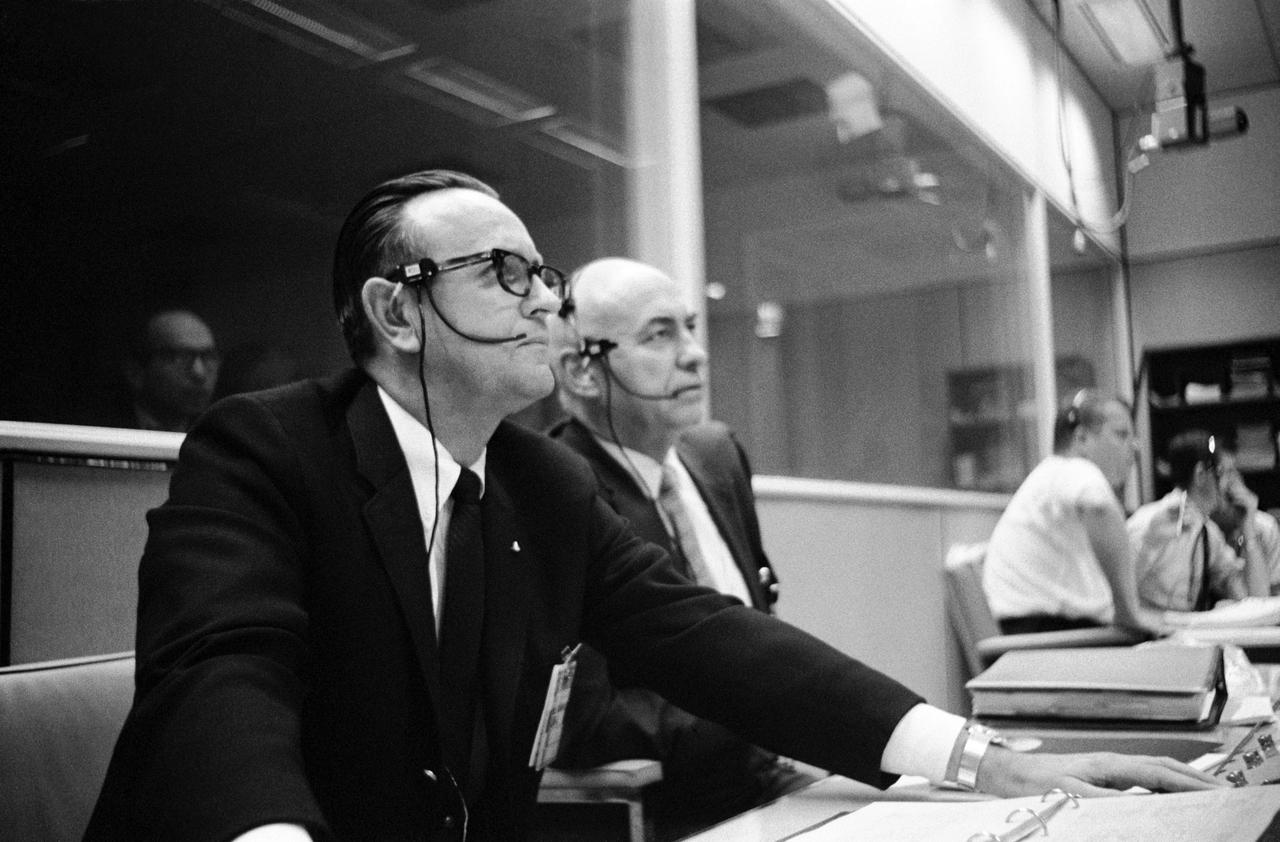 Chris Kraft, left, and Robert Gilruth monitor the launch of Apollo 5 in 1968.