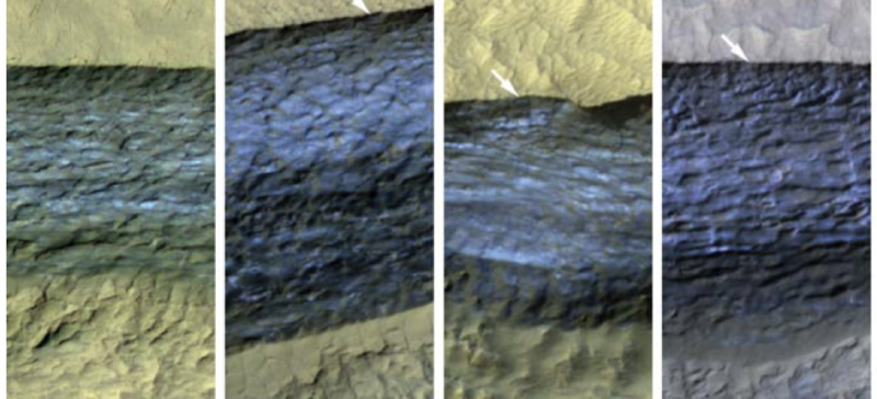 Color enhanced images of the slopes, showing their distinctive blue tinge and layering.