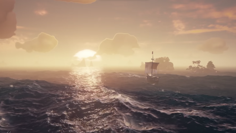 Those weather, reflection, and wave effects all come from the real-time version of <em>Sea of Thieves</em>. It looks that good in motion, too.