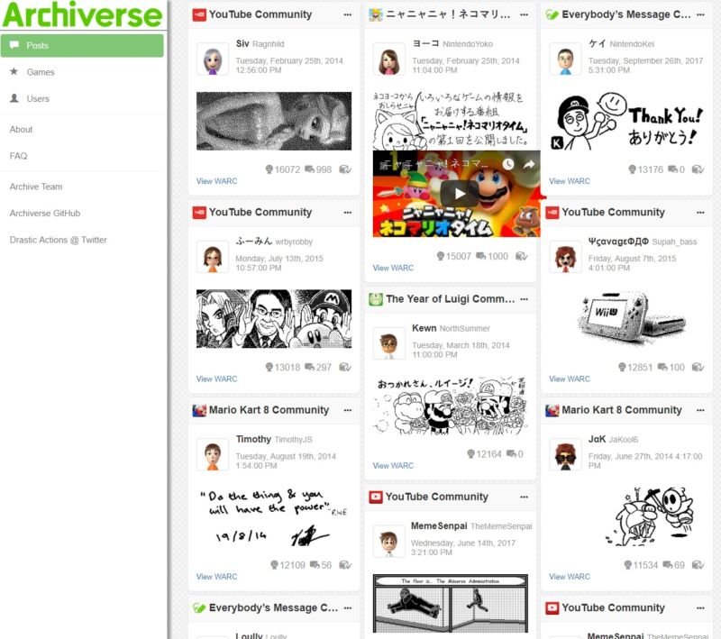 An <em>extremely</em> small look at the hundreds of millions of Miiverse posts archived on Archiverse