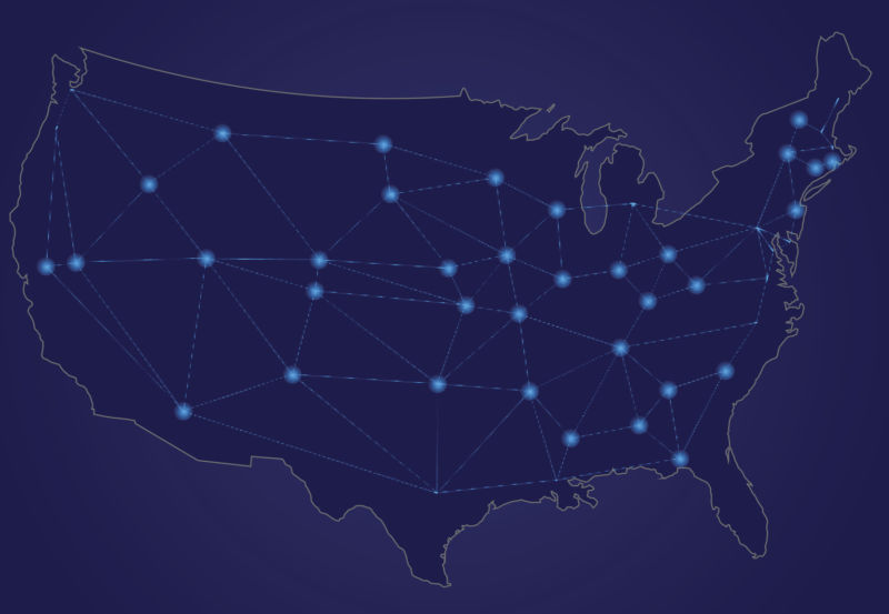 A map of the United States with lines and dots to represent broadband networks.