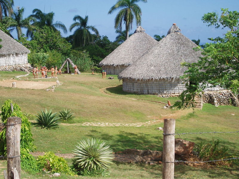Reconstruction of a Taino village in Cuba.