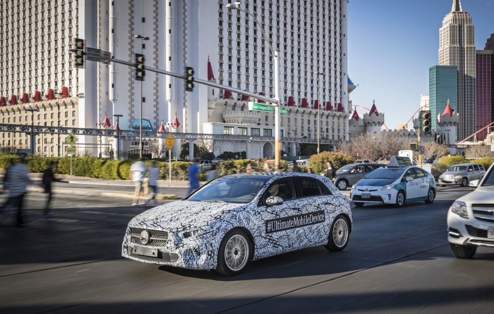 Mercedes-Benz brought some of these camo-wrapped preproduction A-Classes to CES. Given that the car won't be on sale in the US, I think that was a little mean, but the car maker wanted to show us its new infotainment system, MBUX.