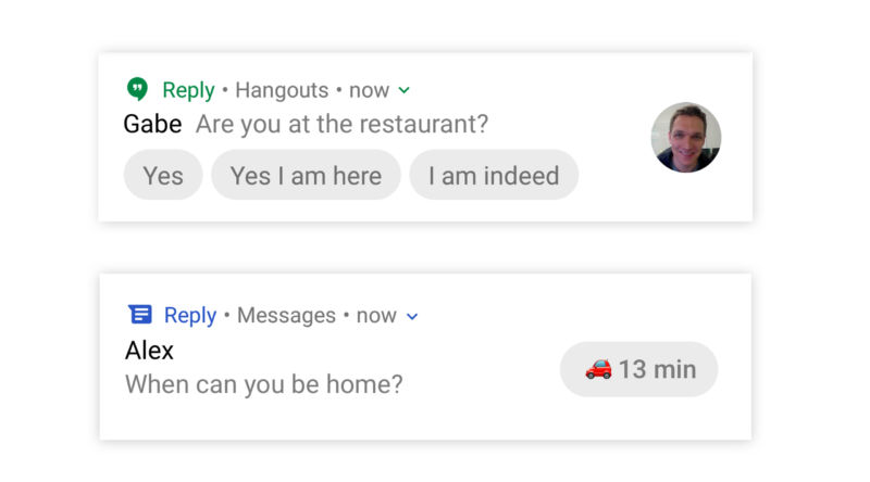 Enlarge  Google's two demo smart replies now directly in a notification