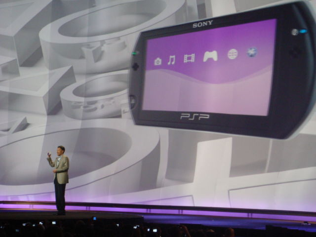 Hirai unveiling the PSP Go in 2009.