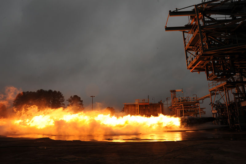 On Jan. 10, 2013, the Saturn V F-1 gas generator completed a 20-second hot-fire test. Engineers are completing a series of tests at Test Stand 116 located in the East Test Area at NASA's Marshall Space Flight Center in Huntsville, Ala.
