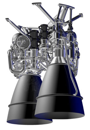 A rendering of Aerojet's AR1 rocket engine.