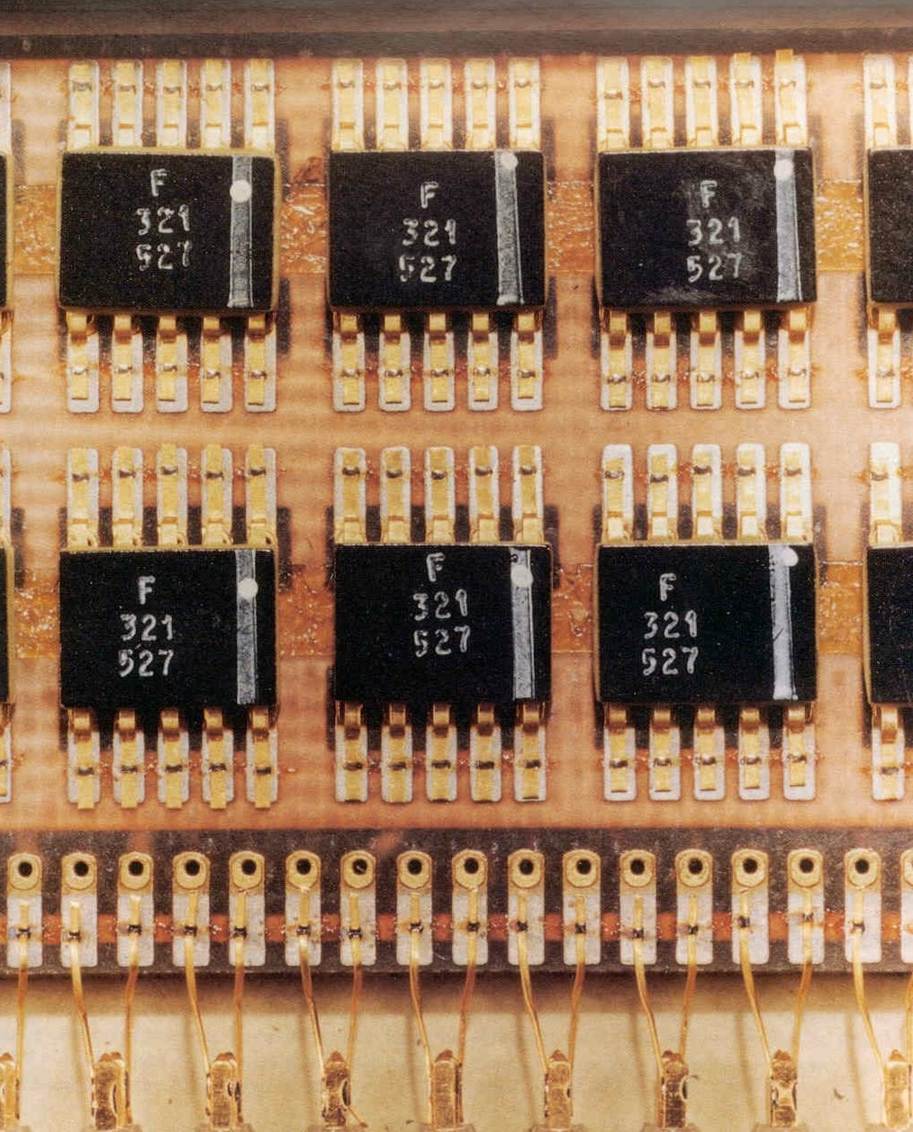 Flat pack surface-mounted integrated circuits from the Apollo spacecraft.
