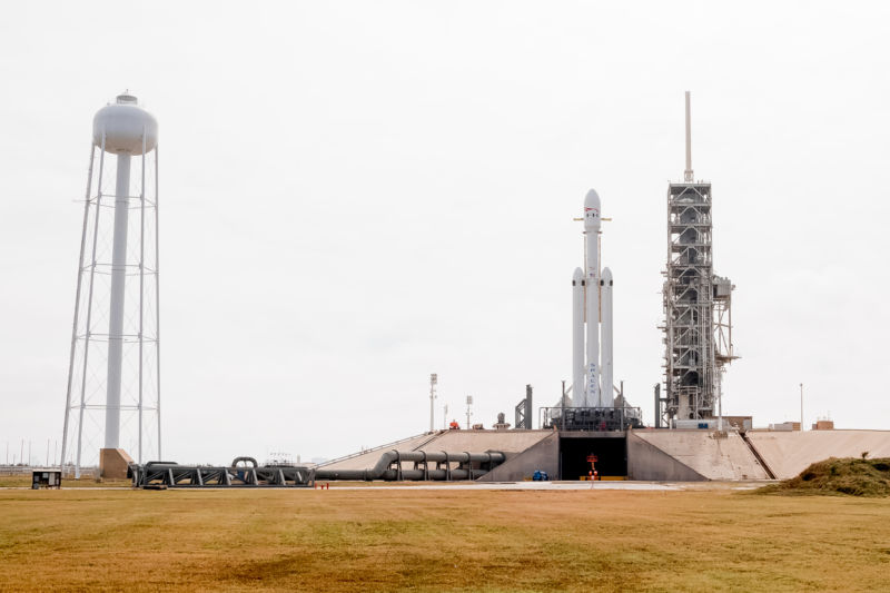 A view of the Falcon Heavy rocket on Monday, from one-quarter of a mile away.