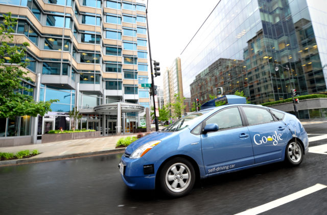 The Google self-driving car maneuvers through the streets of in Washington, DC, on May 14, 2012.