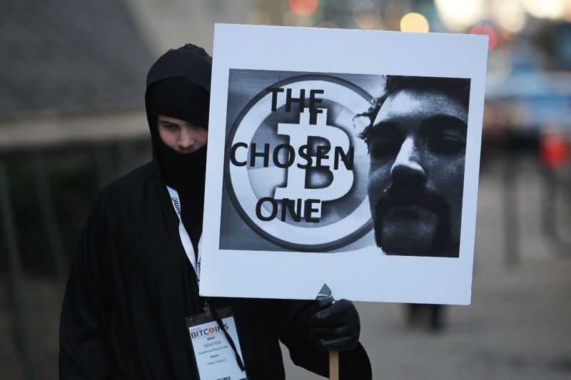 Max Dickstein stands with other supporters of Ross Ulbricht, the alleged creator and operator of the Silk Road underground market, in front of a Manhattan federal court house on the first day of jury selection for his trial on January 13, 2015 in New York City.