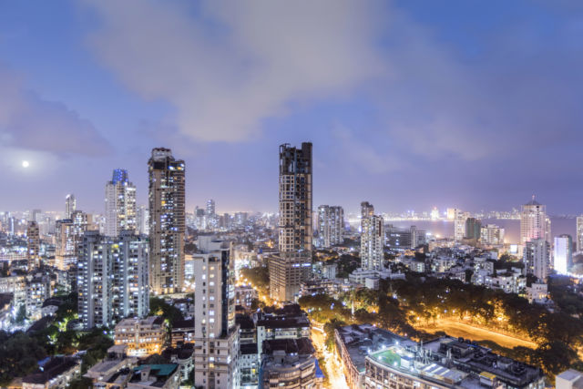 View of the Mumbai skyline from the Malabar district in the city center.