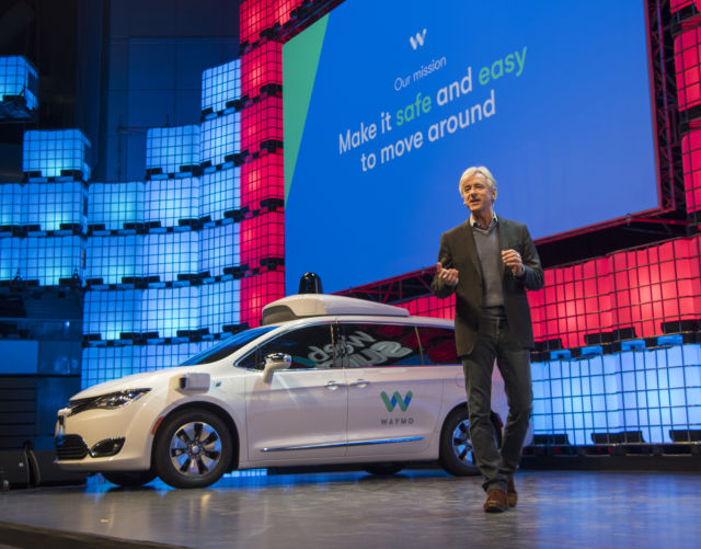 "Waymo CEO John Krafcik describes the company's project as ""a new way forward for self-driving cars"" during the second day of Web Summit in Altice Arena on November 07, 2017 in Lisbon, Portugal."