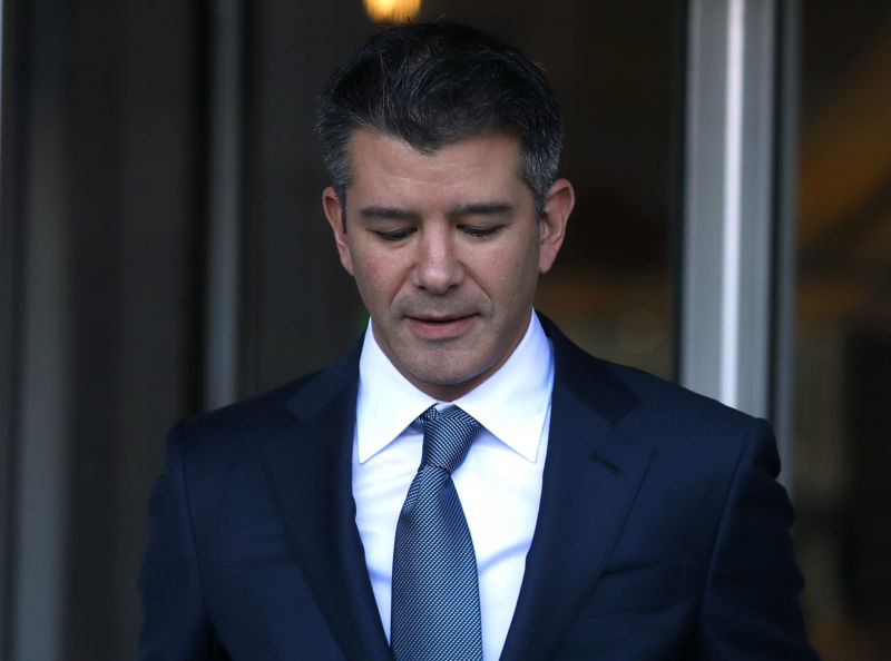 Former Uber CEO Travis Kalanick leaves the Phillip Burton Federal Building on day three of the trial between Waymo and Uber Technologies  on February 7, 2018 in San Francisco, California.