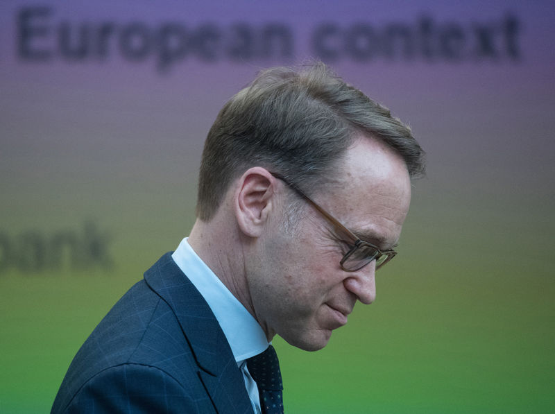 Deutsche Bundesbank President Jens Weidmann during a keynote speech at the Bundesbank European money and finance forum in Frankfurt, Germany, on February 8, 2018.
