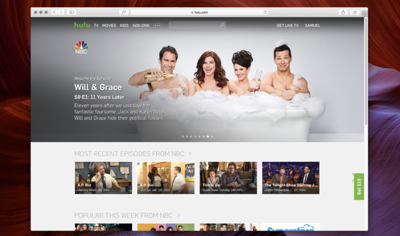 Hulu on the Web.