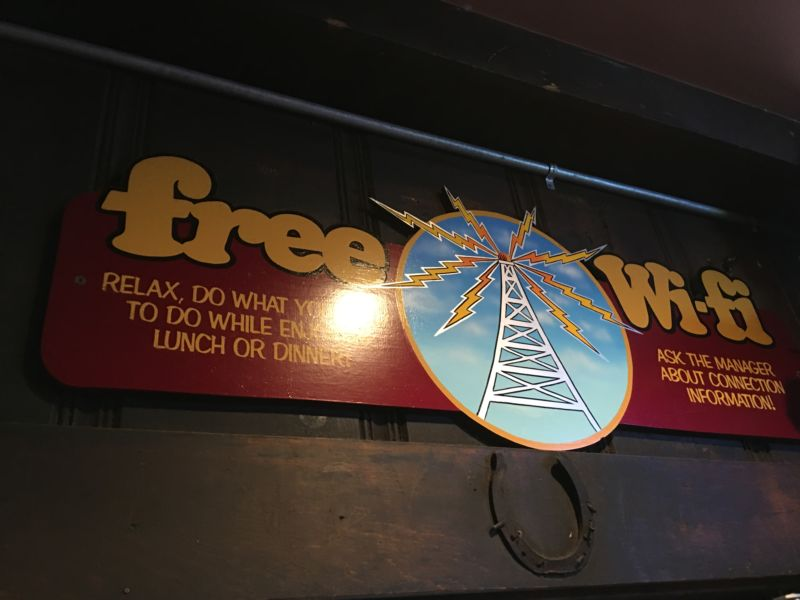 "Even in 2018, there's still a wooden sign proudly advertising ""Free Wi-Fi."""
