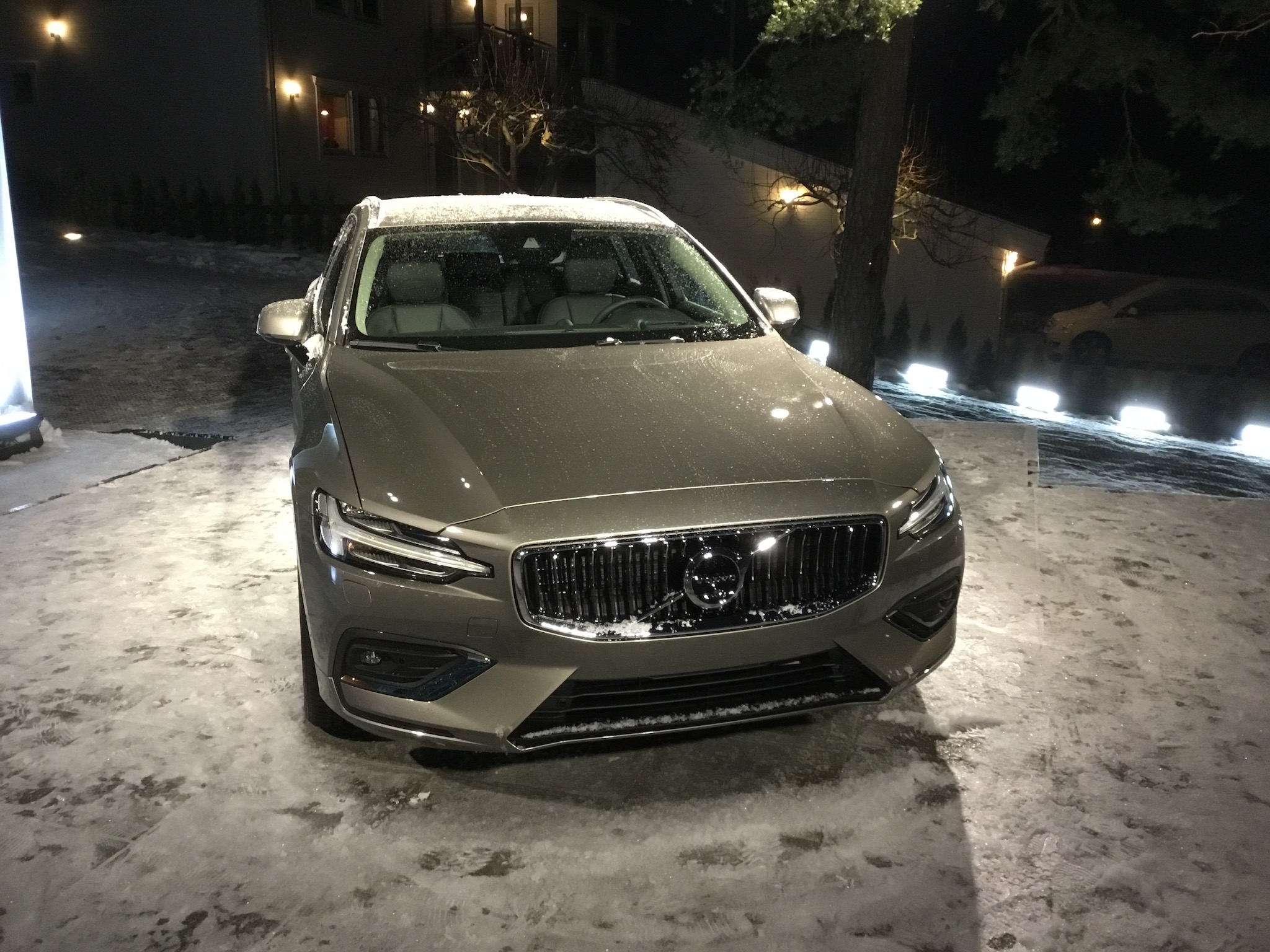 The V60 sparkles in the snow.